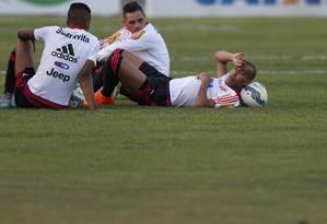Jorge, Pará e Emerson no treino desta terça Foto: Alexandre Cassiano