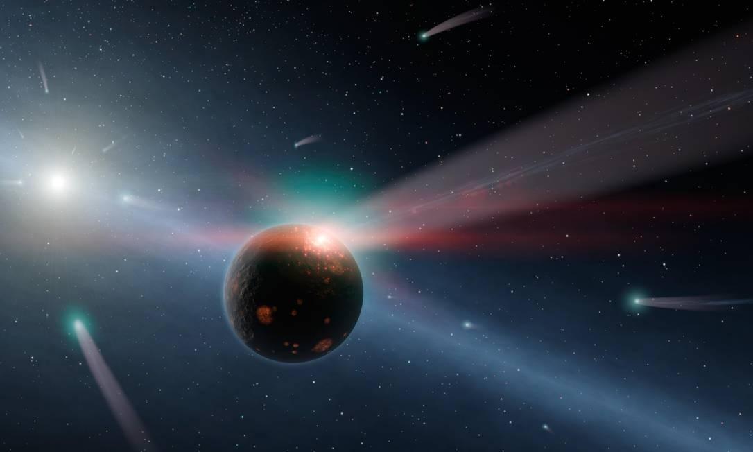Ilustração mostra um bombardeio de cometas em um sistema planetário em formação similar ao que aconteceu com a Terra há cerca de 4 bilhões de anos Foto: Nasa/JPL-Caltech