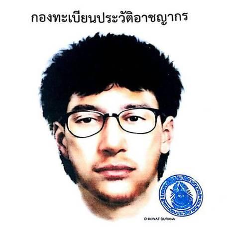 Imagem da Polícia Real Tailandesa mostra um esboço detalhado do principal suspeito pela explosão em santuário no centro de Bangcoc Foto: AP