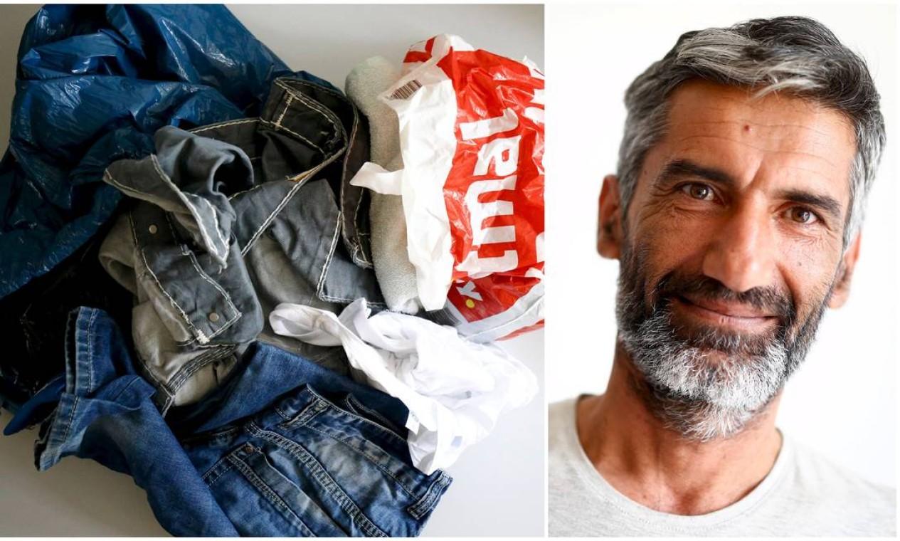 O afegão Shyzed Atajan, de 43 anos, levou as roupas que mais gostava Foto: KAI PFAFFENBACH / REUTERS
