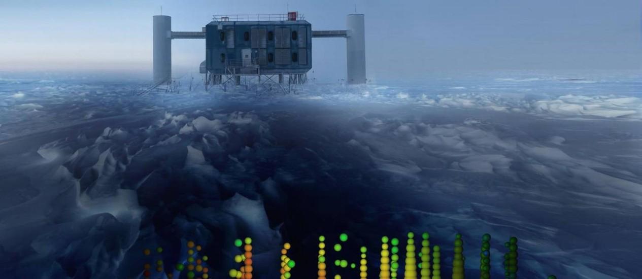Ilustração mostra as assinaturas energéticas dos neutrinos detectados pelo observatório IceCube tendo ao fundo o laboratório da colaboração instalado no Polo Sul Foto: IceCube Collaboration