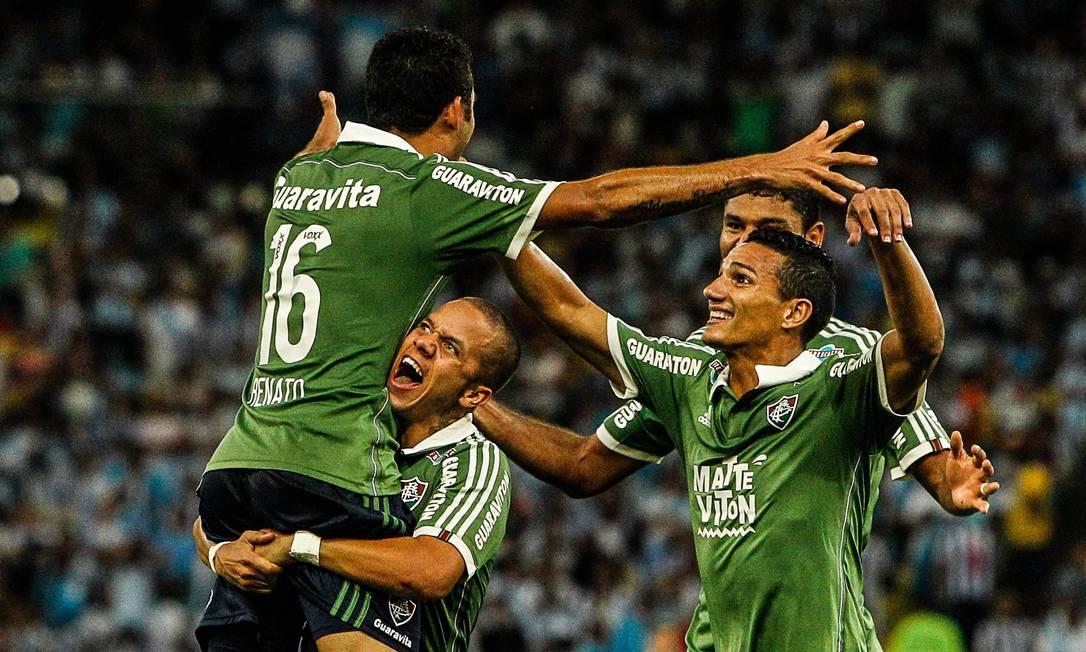 Fluminense x Paysandu. Comemoração dos jogadores do tricolor carioca. Guilherme Leporace / Agência O Globo