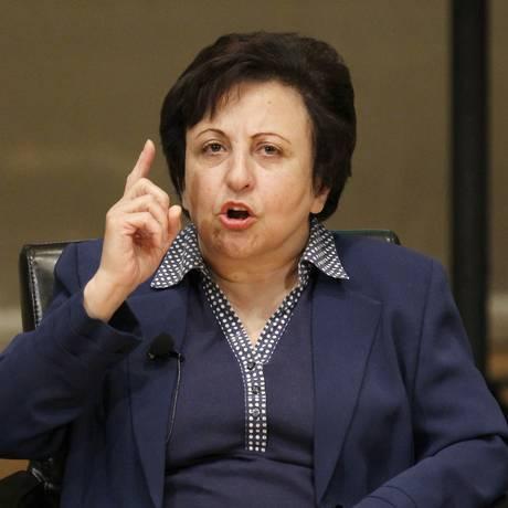 A Prêmio Nobel da Paz iraniana Shirin Ebadi, que vive no exílio desde 2009 Foto: Charles Rex Arbogast / AP/5-11-2013