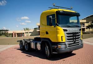 O caminhão autônomo, desenvolvido por pesquisadores da USP São Carlos, interior paulista, em parceria com a montadora Scania. O investimento foi de R$1,2 milhão Foto: Divulgação / Agência O Globo