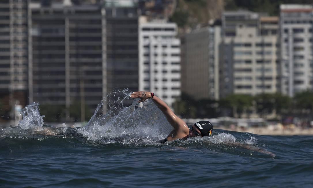 Isabelle Harle durante a o evento-teste na praia de Copacabana Alexandre Cassiano / Agência O Globo