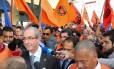 Saída de Eduardo Cunha no encontro de sindicalistas, em São Paulo, na última sexta-feira