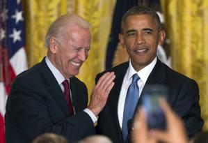 Biden e Obama: dupla dinâmica desde 2008 Foto: Evan Vucci / AP