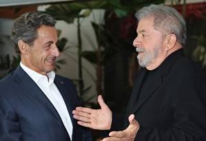 Os ex-presidente Nicolas Sarkozy e Lula no Consulado da França em São Paulo Foto: Divulgação: Ricardo Stuckert/Instituto Lula