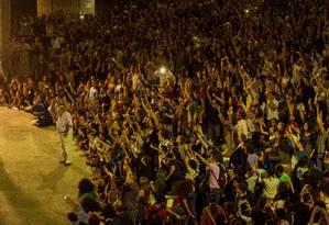 Público assiste à fala do ex-presidente uruguaio Jose Mujica na concha acústica da Uerj, no Rio de Janeiro Foto: Daniel Marenco / Daniel Marenco