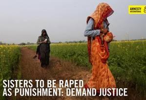Cartaz da Anistia Internacional pede proteção às irmãs Foto: Reprodução