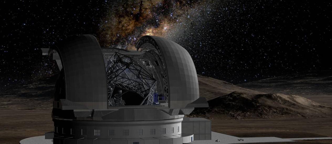 Ilustração mostra o supertelescópio E-ELT com a Via Láctea no céu ao fundo: demora do Brasil em ratificar acordo para adesão ao Observatório Europeu do Sul (ESO) provocou atrasos no cronograma do projeto Foto: ESO