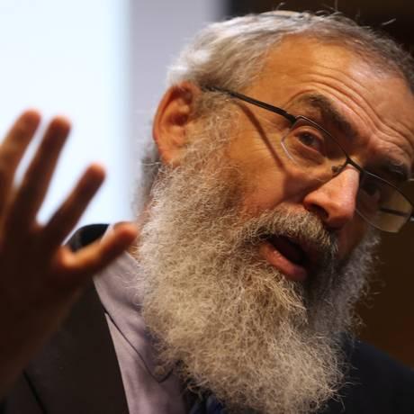 O rabino David Shlomo Stav durante encontro em São Paulo Foto: Fernando Donasci
