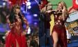 Nicki Minaj no VMA e, à direita, Shakira durante o encerramento da Copa do Mundo