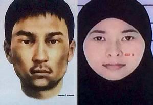 Imagens mostram retrato falado de um dos suspeitos procurados, um estrangeiro ainda não identificado, e a foto de uma mulher tailandesa também procurada Foto: Polícia tailandesa/Ruters