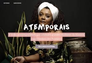 Site traz ensaio de moda com looks inspirados em mulheres que marcaram a história, como a guerreira Dandara dos Palmares Foto: Divulgação