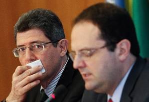 Entrevista coletiva com os ministros Joaquim Levy (Fazenda) e Nelson Barbosa (Planejamento) no Palácio do Planalto Foto: André Coelho / O Globo