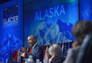 O presidente Obama fala em conferência no Alasca Foto: MANDEL NGAN / AFP