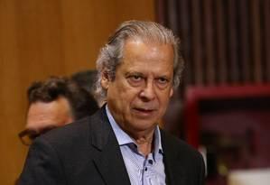 O ex-ministro José Dirceu durante depoimento à CPI da Petrobras, em Curitiba Foto: Geraldo Bubniak/Agência O Globo
