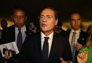 Presidente do Senado presta depoimento na sede da Polícia Federal do DF Foto: Ailton de Freitas / Agência O Globo