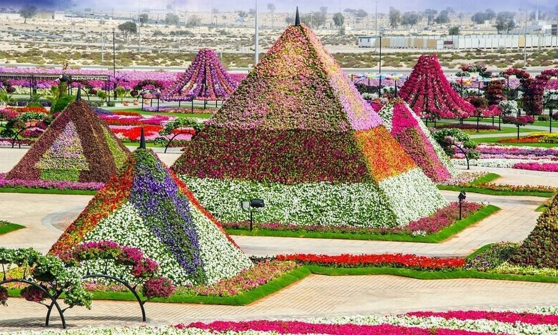 Nem só arranha-céus brotam no deserto dos Emirados Árabes Unidos. O Dubai Miracle Garden é prova disso Foto: Reprodução/fubiz.net