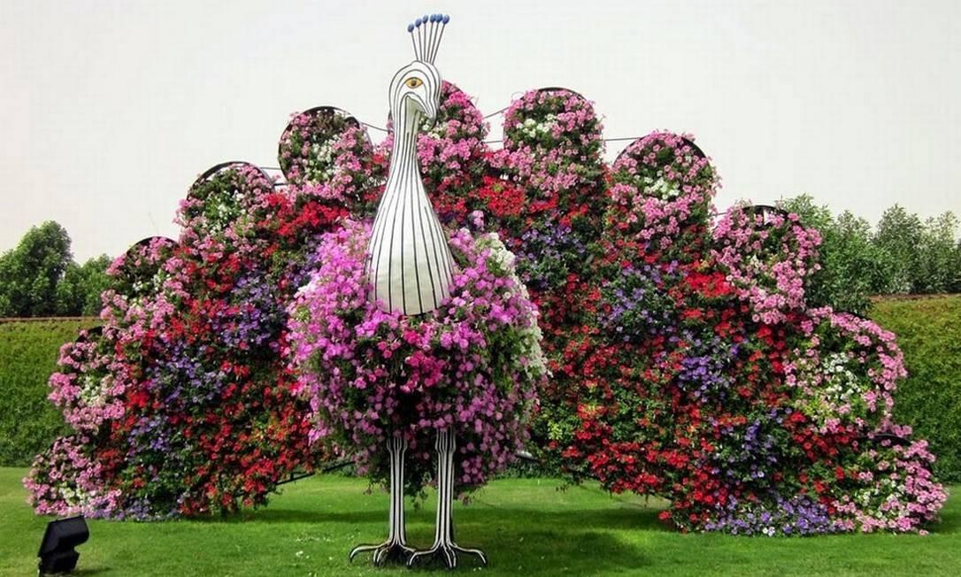 Pavões gigantes também são populares entre os mais de 30 mil visitantes que o jardim atrai aos fins de semana Foto: Reprodução/fubiz.net