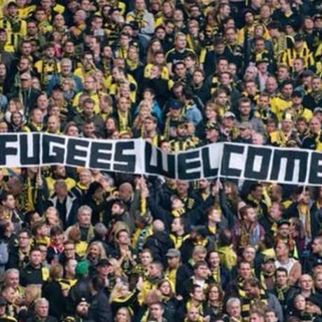 Torcida do Borussia Dortmund já havia declarado boas-vindas Foto: Reprodução