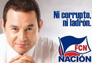 Campanha de Jimmy Morales segue a retórica anticorrupção Foto: Reprodução