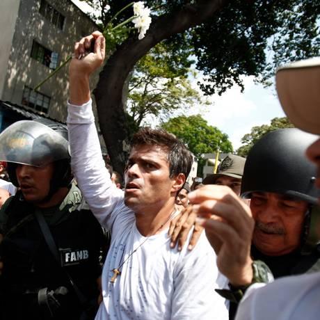 Preso em 18 de fevereiro de 2014, López vai fazer suas considerações finais em uma audiência a portas fechadas Foto: Alejandro Cegarra / AP