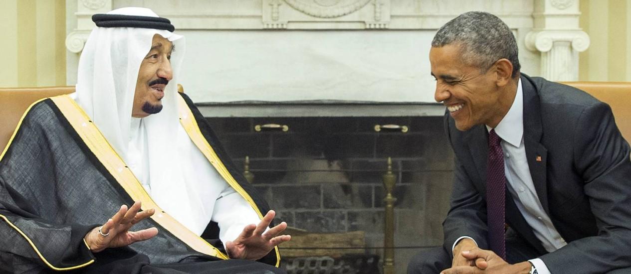 Obama e Salman discutiram acordo nuclear iraniano e temas regionais Foto: Evan Vucci / AP