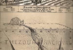 O desenhista Angelo Agostini publicou na Revista Illustrada, na época do Segundo Reinado, uma ilustração que mostra ratazanas roendo o Tesouro Nacional Foto: Reprodução