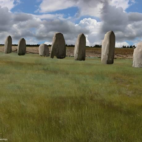Ilustração do que seria a fileira de pedras descoberta em Durrington Walls Foto: DIVULGAÇÃO