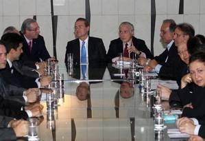 O vice-presidente Michel Temer durante reunião com governadores do PMDB e ministros Foto: Givaldo Barbosa / Agência O Globo