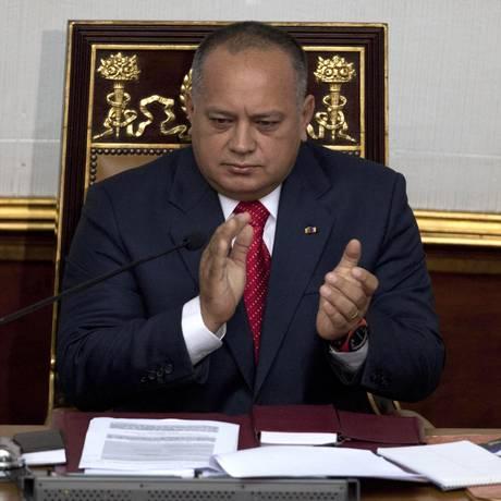 Presidente da Assembleia Nacional, Diosdado Cabello ressalta: 'Venezuela é um país livre' Foto: Ariana Cubillos / AP