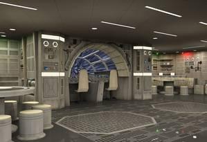 O ambiente inspirado na nave Millennium Falcon, de
