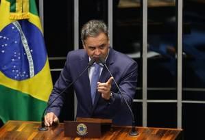 Para Aécio, 'o governo da presidente Dilma acabou' Foto: Ailton de Freitas / O GLOBO