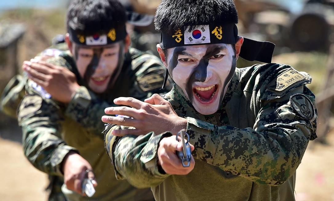 Soldados sul-coreanos demonstram golpes da artes marciais antes de encenarem a batalha do rio Nakdong, durante a celebração do 65º aniversário da invasão ao país do norte JUNG YEON-JE / AFP