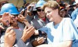 A presidente Dilma Rousseff em visita às obras da ferrovia Transnordestina