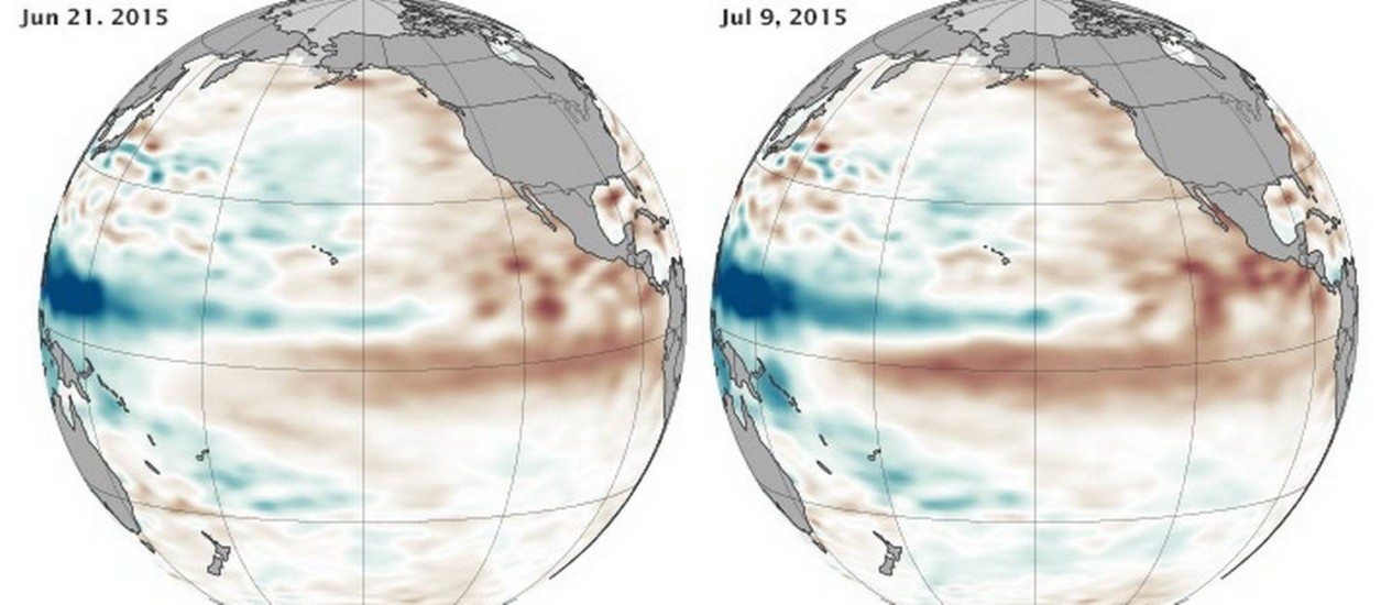 Evolução do El Niño entre junho e julho: áreas mais quentes estão em vermelho Foto: Nasa