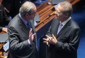 O presidente da Câmara dos Deputados, Eduardo Cunha, e o presidente do Senado, Renan Calheiros Foto: ANDRE COELHO / Agência O Globo