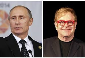 Putin e Elton John: diálogo improvável, até então Foto: Montagem sobre fotos