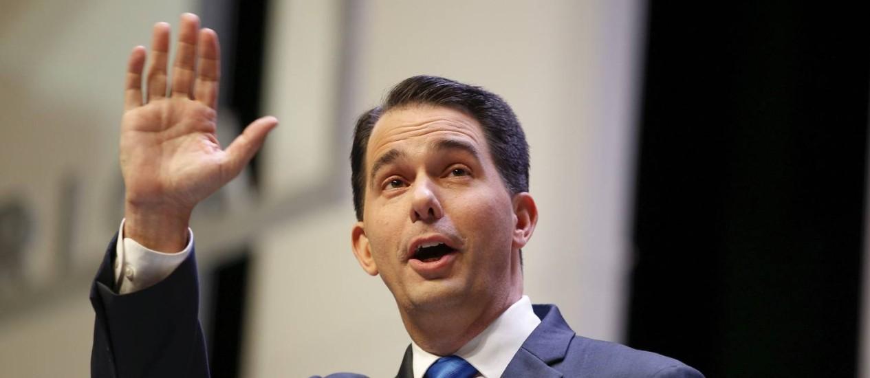 Walker perdeu fôlego na campanha, vendo doadores sumirem Foto: CHRIS KEANE / REUTERS
