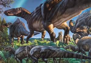 Ilustração mostra como seria o dinossauro recém-descoberto Foto: Divulgação/ Florida State University