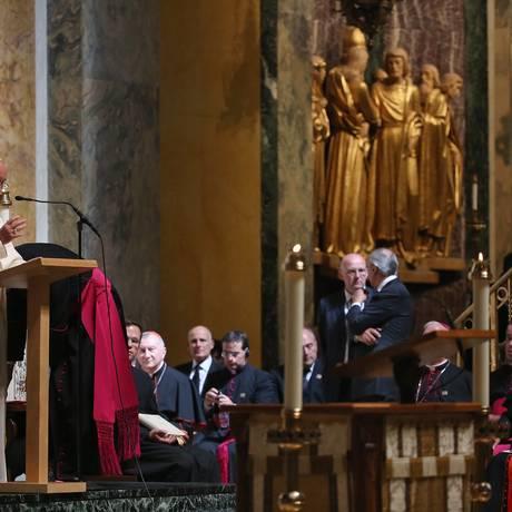 Papa Francisco em discurso para bispos na Catedral de São Mateus, em Washington Foto: Mark Wilson / AP