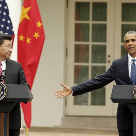 Presidente dos EUA, Barack Obama, e o presidente da China, Xi Jinping, participam de entrevista coletiva na Casa Branca, em Washington Foto: GARY CAMERON / REUTERS
