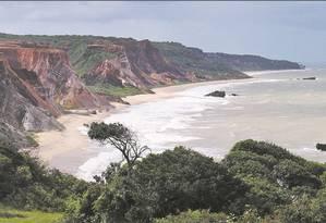Falésias na praia de Tambaba, na Costa do Conde Foto: Júlia Amin