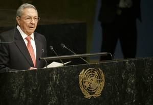 Raúl Castro discursa na ONU Foto: Mary Altaffer / AP