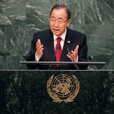 Ban Ki-moon abre Assembleia Geral da ONU em Nova York Foto: JOHN MOORE / AFP