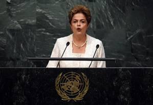 Presidente Dilma Rousseff discursa na 70º Sessão da Assembleia Geral da ONU Foto: TIMOTHY A. CLARY / AFP