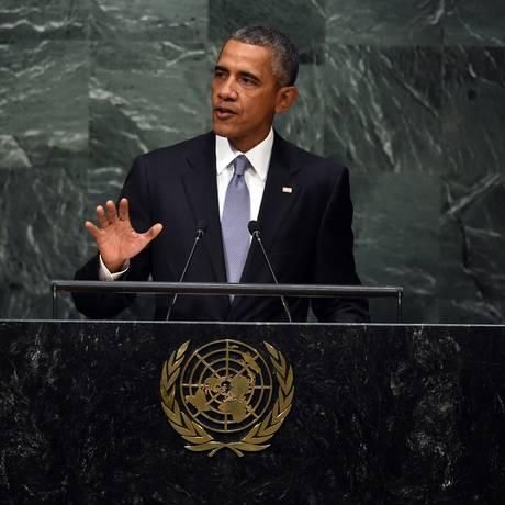 Barack Obama discursa na 70ª Sessão da Assembleia Geral da ONU Foto: TIMOTHY A. CLARY / AFP