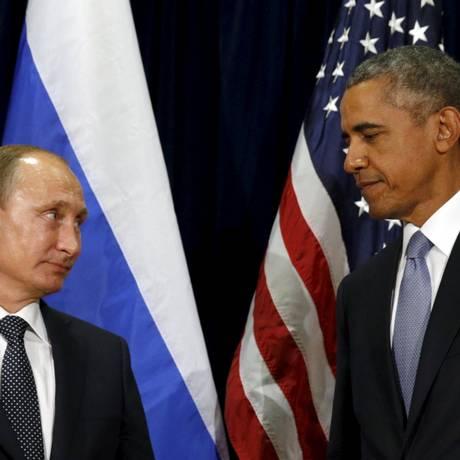 Putin e Obama: clima foi tenso em discursos Foto: KEVIN LAMARQUE / REUTERS